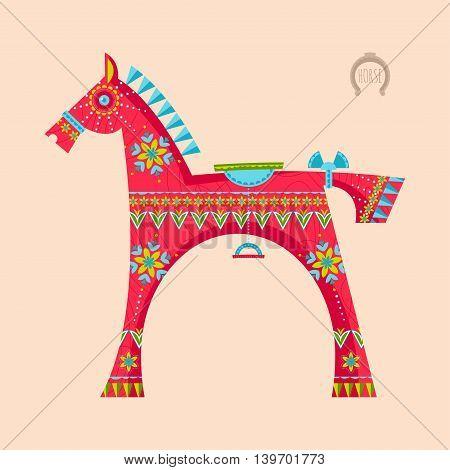 Wooden toy horse. Dala hors. Vector illustration
