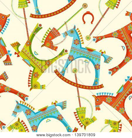 Various toy horses. Rocking horse, spring seesaw, wooden stick horse. Seamless background pattern. Vector illustration