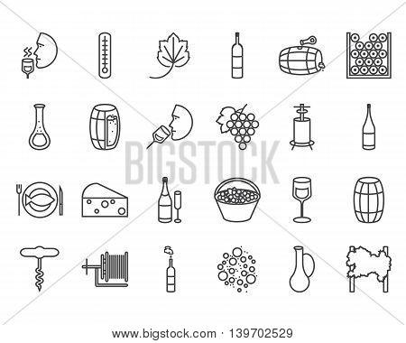 Vector line flat icon set. Winemaking theme: barrel bottle wineglass wine vineyard degustetion crushing pressing bottling . Flat line wine icons for polygraphy web design logo app UI.