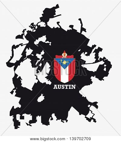 city of Austin map silhouette with coat of arms
