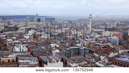 LIVERPOOL, ENGLAND, JULY 2. Downtown on July 2, 2016, in Liverpool, England. Liverpool landmarks include the Royal Liver Building, Beetham Towers and Radio City Tower.