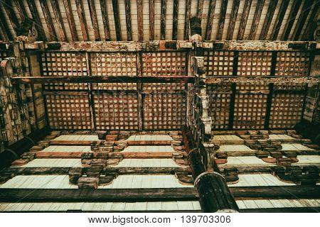Nara - July 2016: Detail of wooden Daibutsuden, Great Buddha Hall. Todai-ji Temple