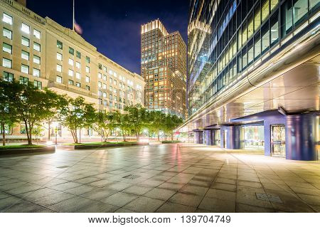 Modern Buildings At Night At Copley, In Back Bay, Boston, Massachusetts.