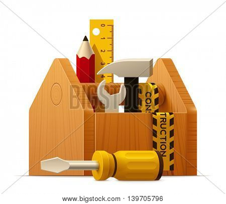 Vector toolbox with pencil, hammer, screwdriver and ruler icon