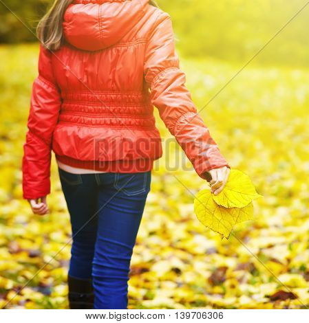 A teenage girl is walking in the park in autumn with yellow leaves