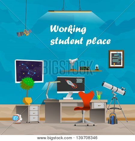Working student place. Space and astronomy. Workplace concept in flat design cartoon style. Office workplace interior design. Business objects, elements equipment. Web banner. Back to school.