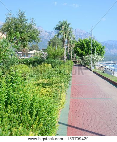 view of Kemer town embankment in Turkey