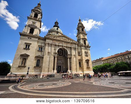 BUDAPEST HUNGARY - MAY 31: Facade of Saint Stephen basilica in Budapest on May 31 2016. Budapest it the capital and largest city of Hungary.