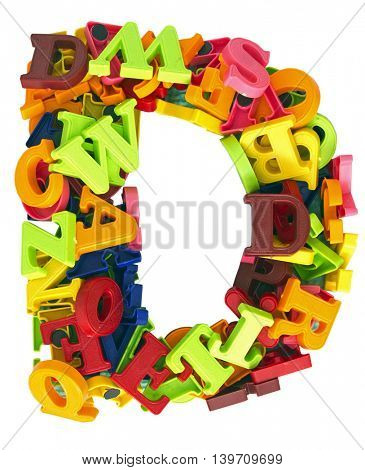 The letter D made from Magnetic letters
