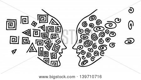 The duo of opposites. vector illustration, funny original creative vector illustration for web design and Polygraphy