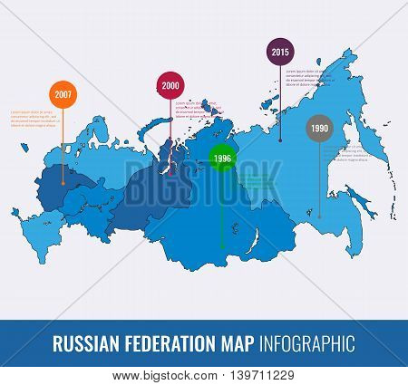 Russia map infographic template. All regions are selectable. Vector illustration