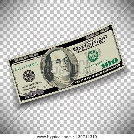 A 100 dollar bill on a transparent background