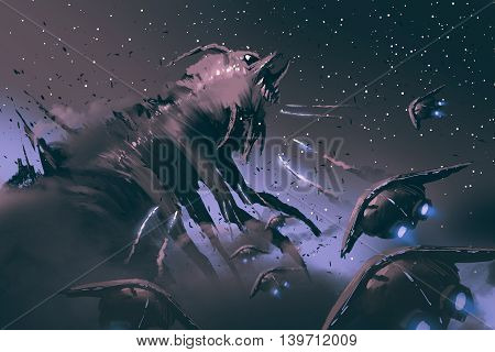 battle between spaceships and insect creature, sci-fi concept illustration painting