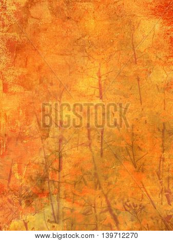 Fall colors - autumn background texture with abstract leaves and branches in grunge style