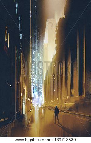 city narrow street at night and silhouette of man walks alone, illustration, digital painting