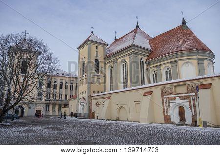 Lithuania. City Of Kaunas.  Church Of Holy Trinity And Priest Seminary (senamiestis)