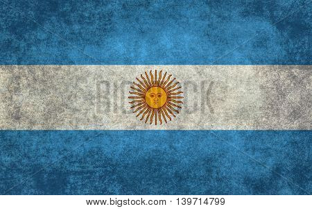 National flag of Argentina with worn distressed textures