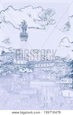 Panorama of Siena, Tuscany, Italy. Painting of travel scene, pencil outlines of background.