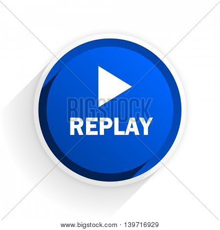 replay flat icon with shadow on white background, blue modern design web element