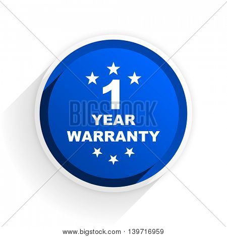 warranty guarantee 1 year flat icon with shadow on white background, blue modern design web element