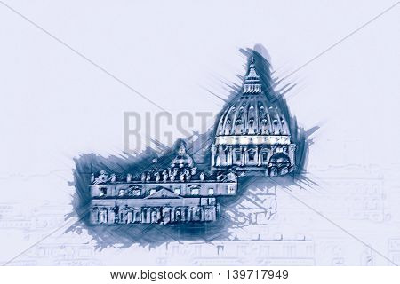 Night view at St. Peter's cathedral in Rome, Italy. Painting of travel scene, pencil outlines of background.