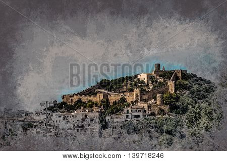 Capdepera castle on green hill in Mallorca island, Spain. Vintage painting, background illustration, beautiful picture, travel texture