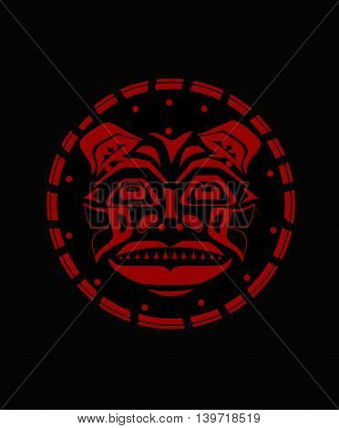 Tiger face indigenous red pattern style indigenous wild cat pattern and ornament
