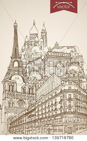 Engraving vintage hand drawn vector France Paris travel Sketch
