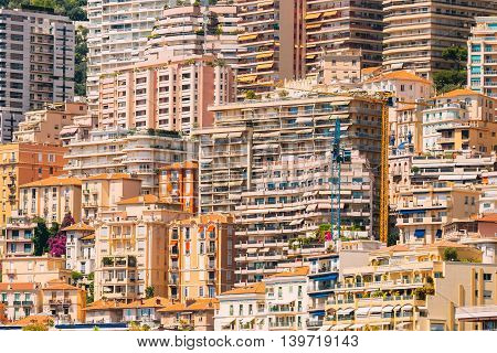 Monaco Monte Carlo. Architecture Background. Many Multi-story Houses Buildings.