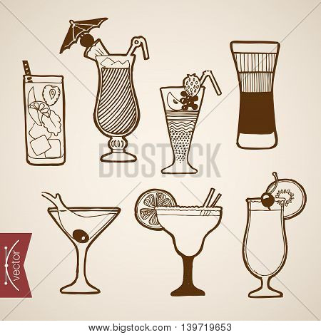 Engraving vintage hand drawn vector cocktail alcohol Sketch