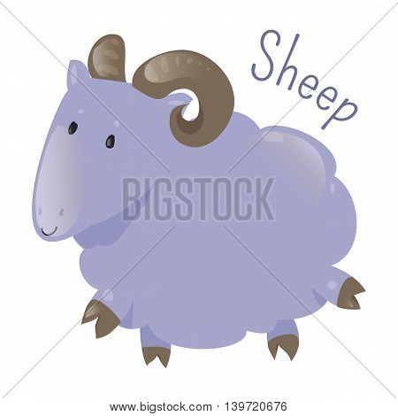 Sheep isolated. Ovis aries. Quadrupedal, ruminant mammal typically kept as livestock. Part of series of cartoon home animal species. Domestic pets. Sticker for kids. Child fun icon. Vector