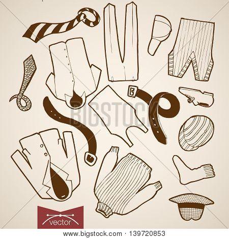 Engraving vintage hand drawn vector shorts pants clothes Sketch