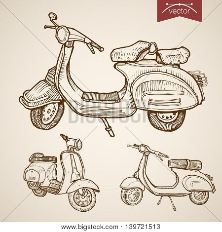Engraving vintage drawn vector moped scooter transport Sketch