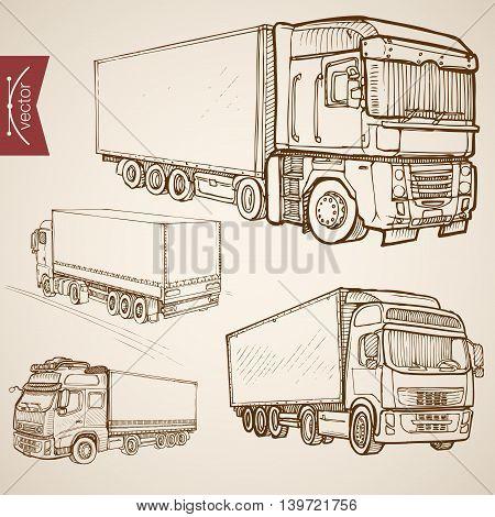 Engraving vintage hand drawn vector delivery transport Sketch