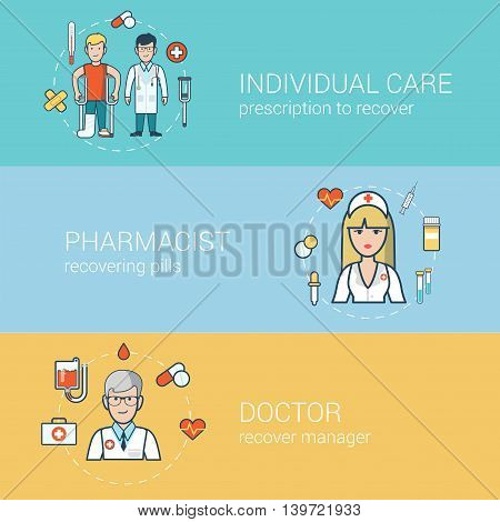 Linear Flat Doctor patient nurse medical staff health web vector
