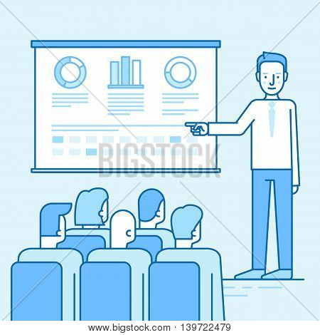 Vector Illustration In Flat Linear Style And Blue Colors - Business Conference