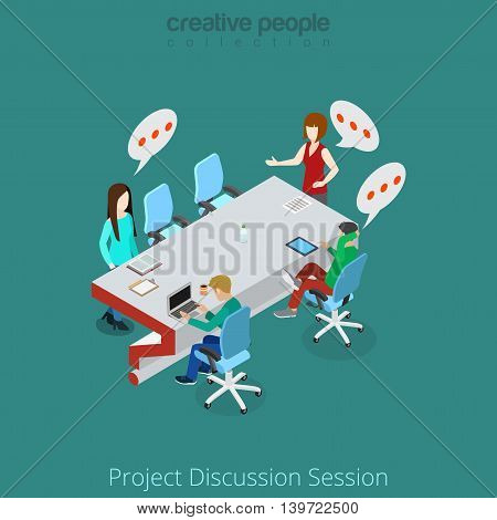 Flat isometric man discuss project vector brainstorming 3d