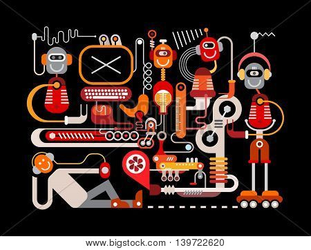 Manufacturing robots illustration isolated on a black background. Welcome to the future were funny robots will do all the boring job.