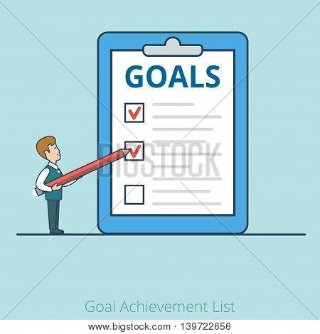 Linear Flat Businessman Goal Achievement List business vector