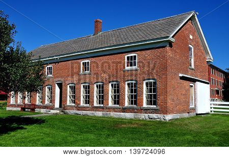 Hancock Massachusetts - September 17 2014: 19th century brick Poultry House at the historic Hancock Shaker Village
