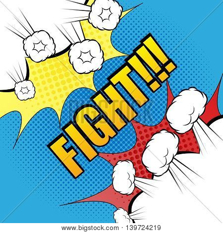 Comic fight template. Cartoon background with opposite sides. Representation of two confrontate warriors before battle. Illustration of explosive bubbles with two blots. Pop-art style