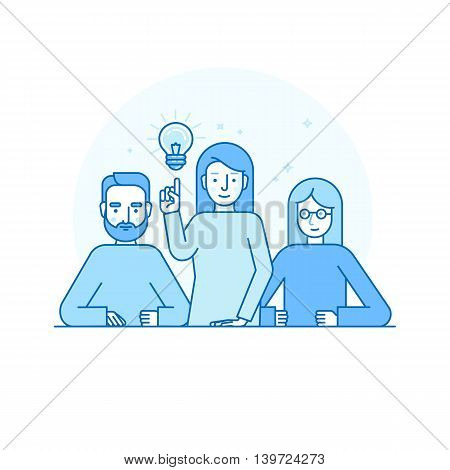 Vector Illustration In Flat Linear Style And Blue Colors - Creative Team Concept