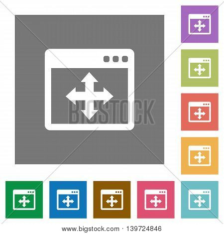 Move window flat icon set on color square background.