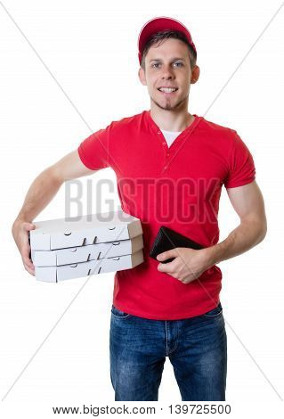 Laughing caucasian pizza delivery guy on an isolated white background for cut out