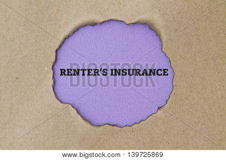 RENTER'S INSURANCE written under torn paper .