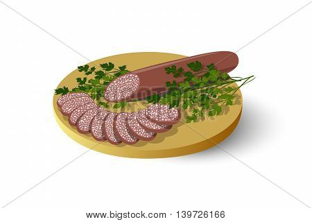 Isolated cutting board with sausage, salami, cold cuts and parsley, vector illustration