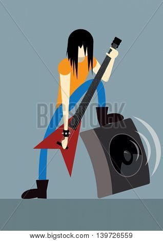 rock guitarist playing on electric guitar vector illustration