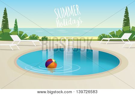 Swimming Pool Summer Concept Flat Design