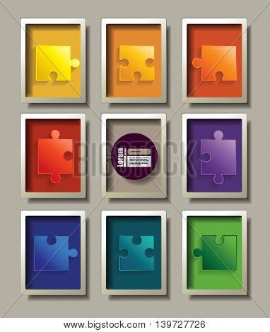 puzzle in frame. Vector graphic template.