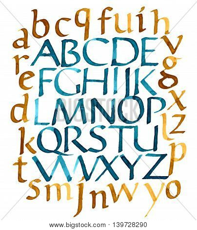 Alphabet letters uppercase and lowercase. Vector alphabet. Hand drawn letters. Letters of the alphabet written with watercolor